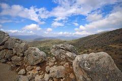 Paisagem em torno de Mycenae e de ruínas Imagem de Stock Royalty Free