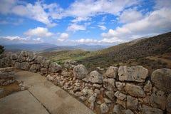 Paisagem em torno de Mycenae e de ruínas Fotografia de Stock Royalty Free