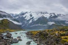 Paisagem em torno do Mt Parque nacional do cozinheiro/Aoraki, Nova Zelândia Fotografia de Stock