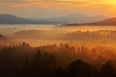 Paisagem enevoada da manhã Landspace da manhã com névoa Nascer do sol na paisagem Sun durante o nascer do sol no parque nacional  Imagens de Stock Royalty Free