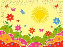 Paisagem ensolarada do verão como o papel de parede Fotos de Stock Royalty Free