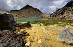 Paisagem esmeralda do lago, parque nacional de Tongariro Foto de Stock Royalty Free