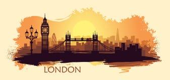 Paisagem estilizada de Londres com com o Ben grande, a ponte da torre e as outras atrações ilustração royalty free