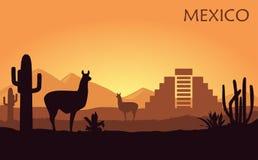 Paisagem estilizada de México com um lama, uns cactos e uma pirâmide antiga ilustração royalty free