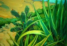 Paisagem exótica da costa mediterrânea, pintando Imagens de Stock Royalty Free