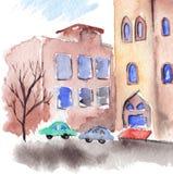 Paisagem exterior da cidade da rua da construção do outono da aquarela Imagem de Stock