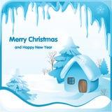 Paisagem fabulosa do inverno com uma casa pequena em uma floresta nevado ilustração royalty free