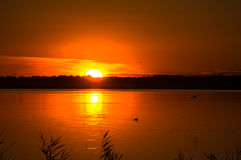 Paisagem fantástica, céu multicolorido sobre o lago Nascer do sol majestoso Uso como o fundo Fotos de Stock Royalty Free