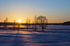 Paisagem finlandesa do inverno com por do sol amarelo Foto de Stock