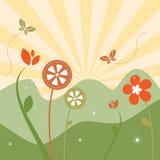 Paisagem floral da mola abstrata Fotos de Stock Royalty Free