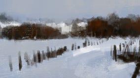 Paisagem fria da neve do inverno com pintura da ilustração da floresta Fotografia de Stock