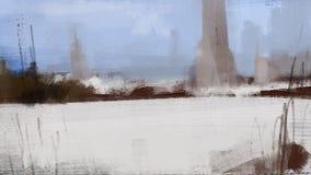 Paisagem fria da neve do inverno com pintura da ilustração da floresta Imagens de Stock