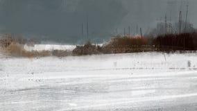 Paisagem fria da neve do inverno com pintura da ilustração da floresta Imagem de Stock