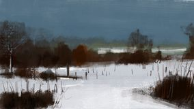 Paisagem fria da neve do inverno com pintura da ilustração da floresta Fotos de Stock Royalty Free
