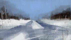 Paisagem fria da neve do inverno com pintura da ilustração da floresta Imagem de Stock Royalty Free
