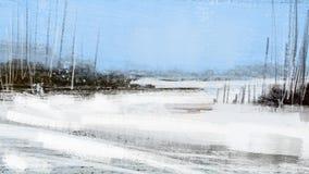Paisagem fria da neve do inverno com pintura da ilustração da floresta Foto de Stock Royalty Free
