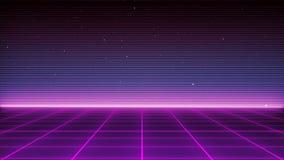 Paisagem futurista do fundo retro da ficção científica dos anos 80 Superfície do Cyber de Digitas ilustração royalty free