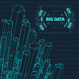 Paisagem gerada por computador do código binário no fundo preto Dados grandes Código binário Paisagem de Wireframe Imagem de Stock Royalty Free