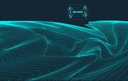 Paisagem gerada por computador do código binário no fundo preto Dados grandes Código binário Paisagem de Wireframe Fotografia de Stock Royalty Free
