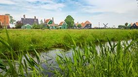 Paisagem holandesa com casas e vegetação imagem de stock