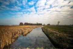 paisagem holandesa da natureza com um céu nebuloso fotos de stock