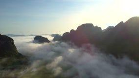 Paisagem ilimitada do vale das montanhas coberta com a névoa video estoque
