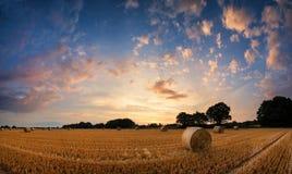 Paisagem impressionante do por do sol do verão sobre o campo de pacotes de feno Imagens de Stock Royalty Free