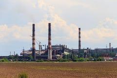 Paisagem industrial Vista da fábrica em Nikopol, Dnepropetrovsk imagem de stock