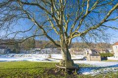 Paisagem inglesa da vila rural no inverno Foto de Stock