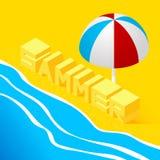 Paisagem isométrica com o mar Imagem de Stock