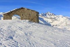 Paisagem italiana dos alpes, Madesimo Fotografia de Stock