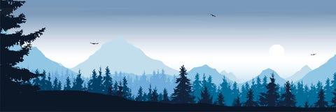 Paisagem larga da montanha com os pássaros da floresta e de voo sob o m ilustração royalty free
