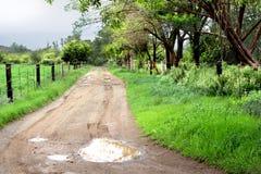Paisagem lateral do país com a estrada de terra rural após a chuva Fotos de Stock