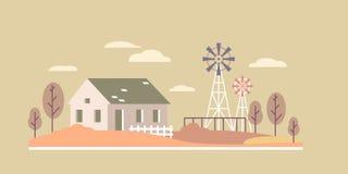 Paisagem lisa da casa de cidade ilustração royalty free