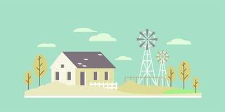 Paisagem lisa da casa de cidade ilustração do vetor