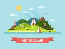 Paisagem lisa da ilha do projeto das horas de verão ilustração stock