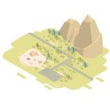 Paisagem lisa isométrica com estrada e montanhas ilustração stock