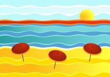 Paisagem listrada da praia Ilustração Royalty Free
