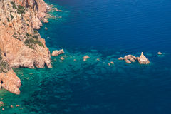 Paisagem litoral da ilha de Córsega, verão fotos de stock royalty free