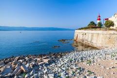 Paisagem litoral de Ajácio, citadela com farol fotografia de stock royalty free