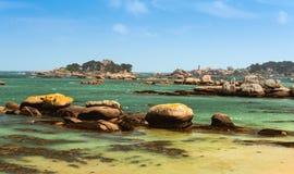 Paisagem litoral de Bretagne, França do norte fotos de stock royalty free