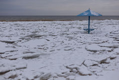 Paisagem litoral do inverno com gelo e neve na praia Imagens de Stock