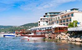 Paisagem litoral do verão de Balchik, Bulgária foto de stock royalty free