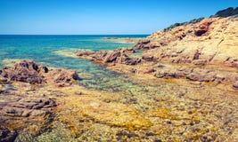 Paisagem litoral, ilha de Córsega, França Foto de Stock Royalty Free