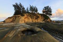 Paisagem litoral na ponta de Bornéu, Malásia imagem de stock