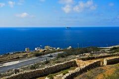 Paisagem litoral no mediterrâneo, ilha de Malta Imagem de Stock Royalty Free