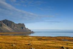 Paisagem litoral no outono de Islândia Imagem de Stock Royalty Free