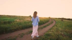Paisagem magnífica, campo verde, céu claro brilhante, menina delgada com caminhadas do cabelo louro ao longo da estrada em fraco  video estoque