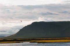 paisagem majestosa com montanha, o céu nebuloso e a água imagens de stock royalty free