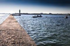 Paisagem Moabren do farol, Brittany, França, Oceano Atlântico Fotografia de Stock